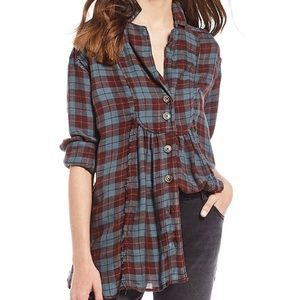 NWT Free People All About The Feels Plaid Top Plum